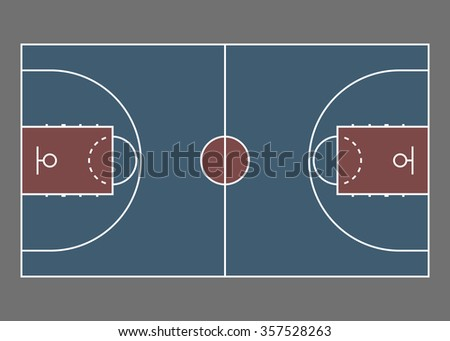Basketball court / field - top view. Proper markings and proportions according standards. - stock photo