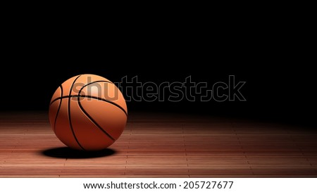 Basketball court floor with ball isolated on black and copy-space  - stock photo