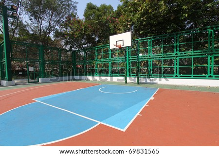 Basketball court in abstract view - stock photo