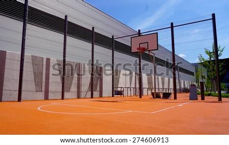 Basketball court outdoor public horizontal - stock photo