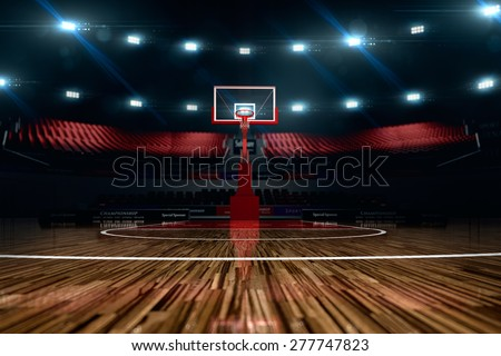 Basketball court. Sport arena. 3d render background. unfocus in long shot distance - stock photo