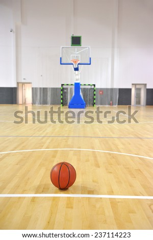 Basketball court, sports hall - stock photo