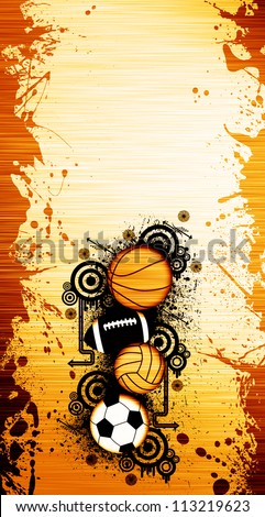Basketball, football, handball, soccer Balls background with space - stock photo