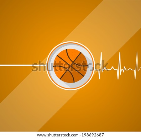 Basketball for life. Raster flat illustration of basketball which gives a life on orange background. - stock photo