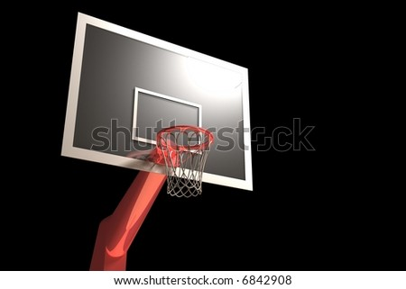 Basketball goal dark - stock photo