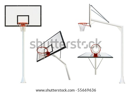 Basketball goal isolated from different views - stock photo