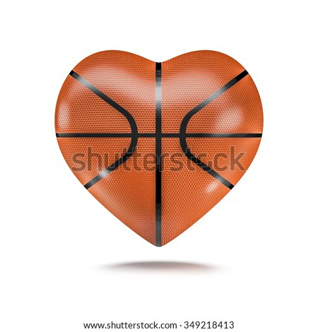 Basketball heart / 3D render of heart shaped basketball - stock photo