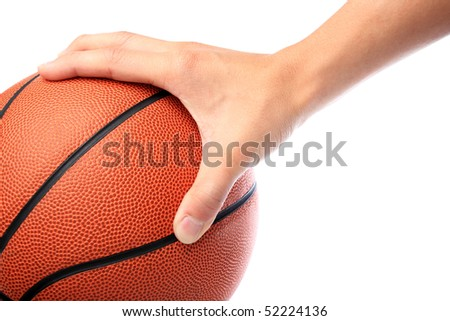basketball hold by one hand - stock photo