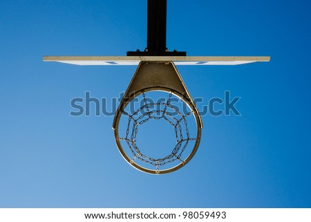 basketball hoop against the blue sky - stock photo