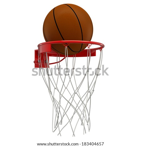 Basketball hoop basketball ball . isolated on white background. 3D image - stock photo