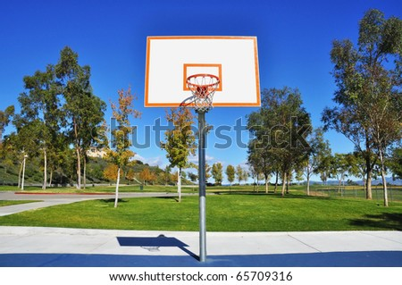 Basketball hoop in a public park - stock photo