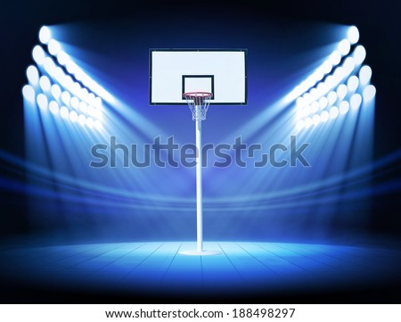 Basketball hoop with spotlights - stock photo