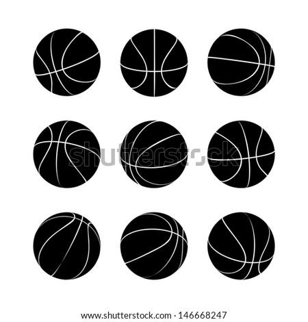 Basketball Icon Set. Raster version, vector also available. - stock photo