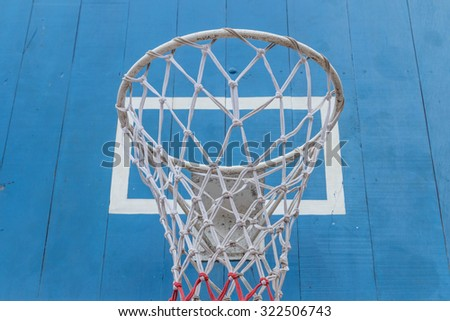 Basketball is one sport in which players are two teams, each team consisting of five players try to score by throwing the ball into the hoop or basket. - stock photo