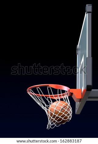 Basketball kit with backboard, hoop, net and ball - stock photo