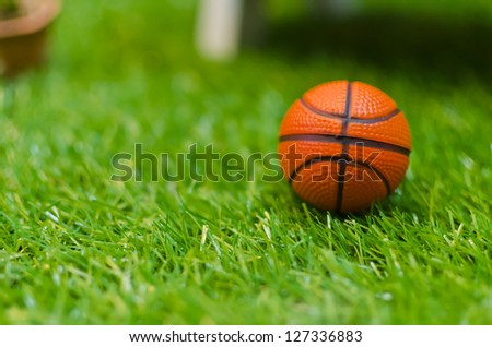 basketball on green grass - stock photo