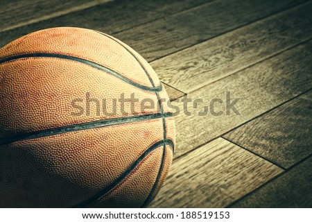 Basketball on the floor - stock photo