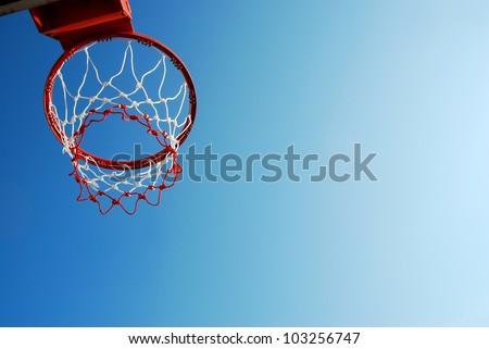basketball outdoor court sport game blue sky background design - stock photo