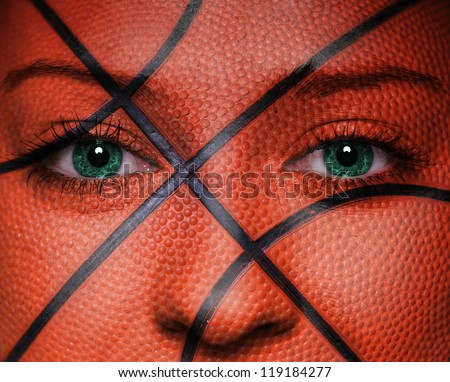 Basketball pattern on woman face - stock photo
