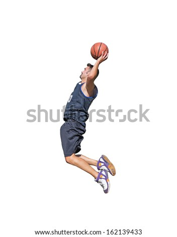 basketball player about to dunk on white background - stock photo