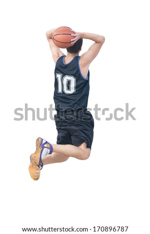 basketball player doing a  two-handed jam on white - stock photo