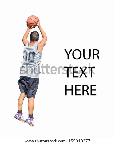 Basketball player making a jump shot isolated on white background - stock photo