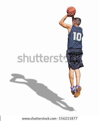 basketball player shooting on white background - stock photo