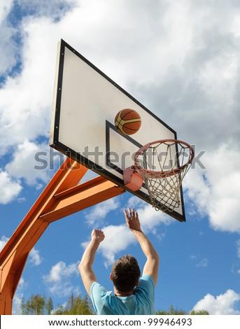 Basketball shot - stock photo