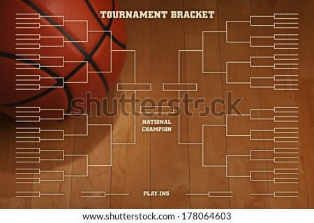 Basketball tournament bracket over image of ball with spot lighting on wood gym floor - stock photo