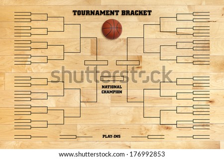 Basketball tournament bracket superimposed on a wood gym floor - stock photo