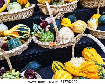 Baskets with colorful gourds. Autumn decoration. - stock photo