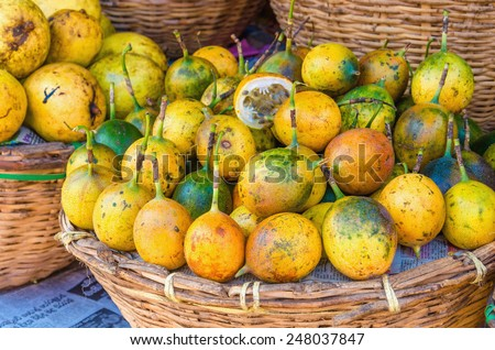 Baskets with juicy tropical passion fruit - stock photo