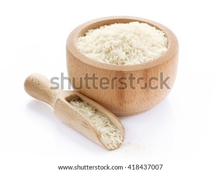 Basmati rice in wooden bowl isolated on white background - stock photo