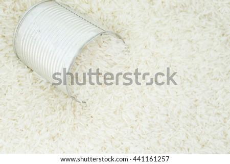 Basmati rice, white rice and can, jasmine rice.Selective focus - stock photo