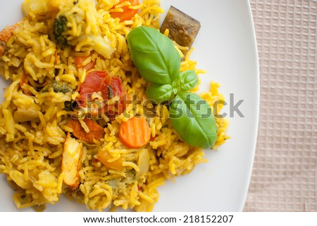 basmati rice with vegetables and chicken - stock photo