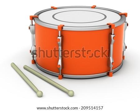 Bass drum on white background - stock photo