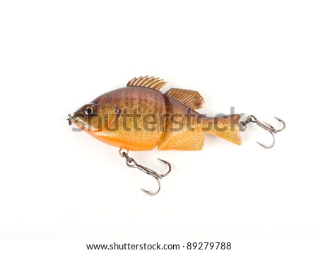 Bass fishing lure crank with hooks. Spinning and casting. Isolated - stock photo