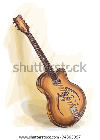 Bass Guitar. Watercolor style. Raster version. - stock photo
