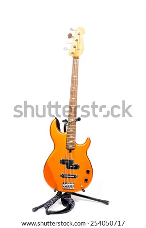 Bass Guitar with White Background - stock photo