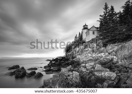 Bass Harbor Head Light in Acadia National Park, Maine at sunset (black and white). - stock photo