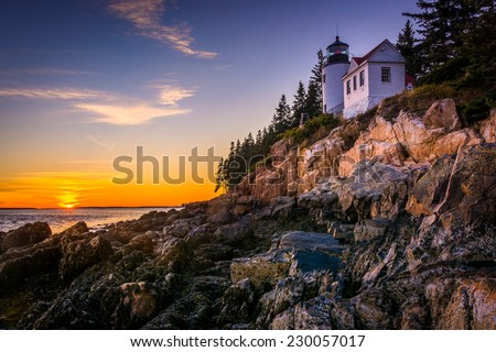 Bass Harbor Lighthouse at sunset, in Acadia National Park, Maine. - stock photo