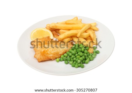 baterred fish, chips and peas with a wedge of lemon on a plate isolated against white - stock photo