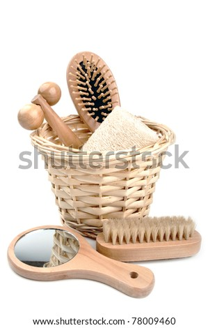 bath accessories isolated on a white background - stock photo