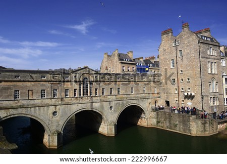 Bath City, United Kingdom - March 30 2014: Scenery in Bath city located in Somerset South West England, 97 miles west of London and 13 miles south-east of Bristol. - stock photo