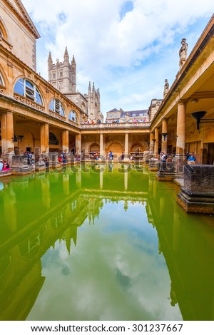 BATH, ENGLAND - JULY 04, 2015: inside of Roman Baths with unidentified people, which is a site of historical interest in the city of Bath. The house is a well-preserved Roman site for public bathing - stock photo