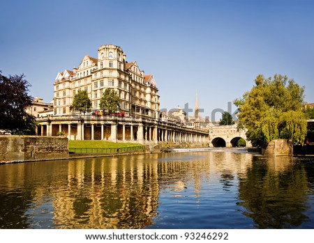 Bath, England. View of Pulteney Bridge River Avon at sunset. - stock photo
