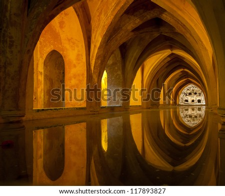Bath in Alcazar, Seville, Spain - stock photo