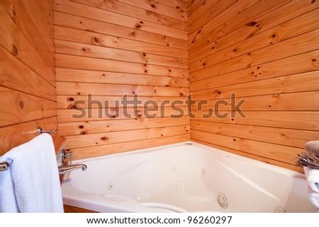 Bath interior in mountain lodge. Fox Glacier Lodge, Fox Glacier, West Coast, South Island, New Zealand. - stock photo