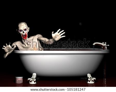 Bath Salt Zombie: An undead zombie taking a bath salt bath. - stock photo