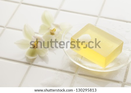 Bath, soap - stock photo